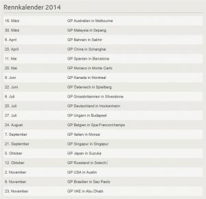 Formel 1 Rennkalender 2014