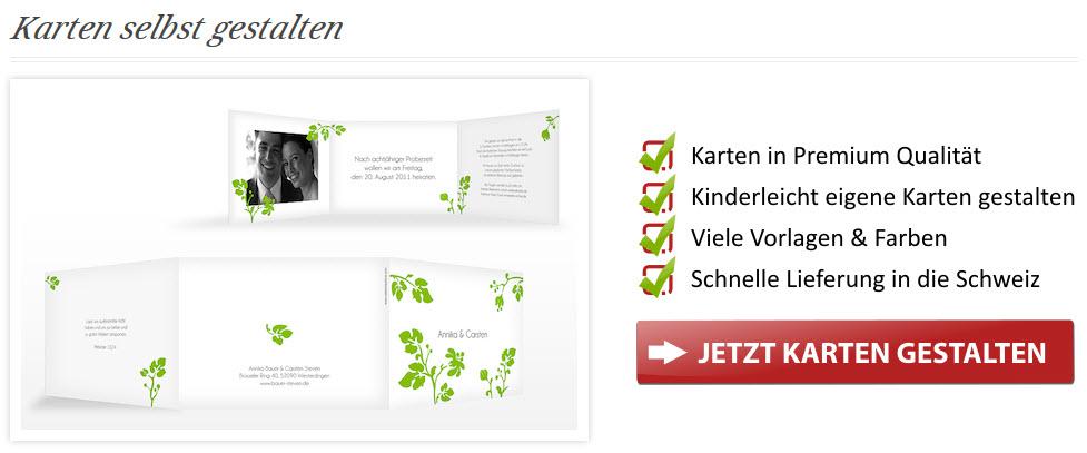 Karten selbst gestalten - Kartenschmiede.ch