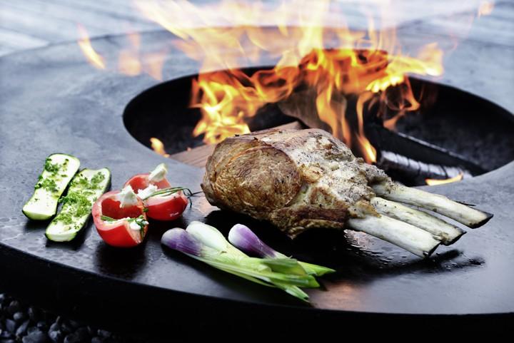 Feuerring mit Grillfleisch